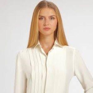 NWT Brooks Brothers Cream Silk Pleated Blouse 2